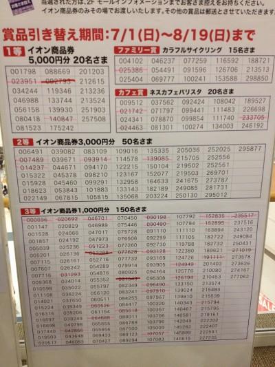 イオンモール浦和美園の売りつくしスタンプラリー抽選の当選番号